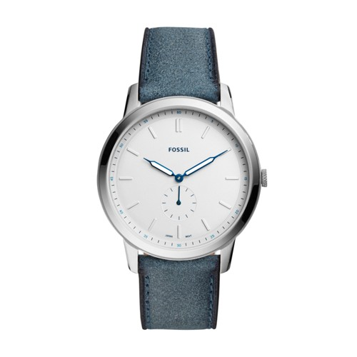 Fossil The Minimalist Two-Hand Blue Leather Watch FS5446