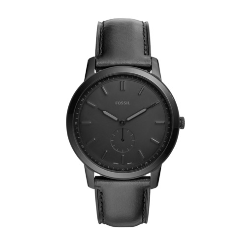 Fossil The Minimalist Two-Hand Black Leather Watch FS5447