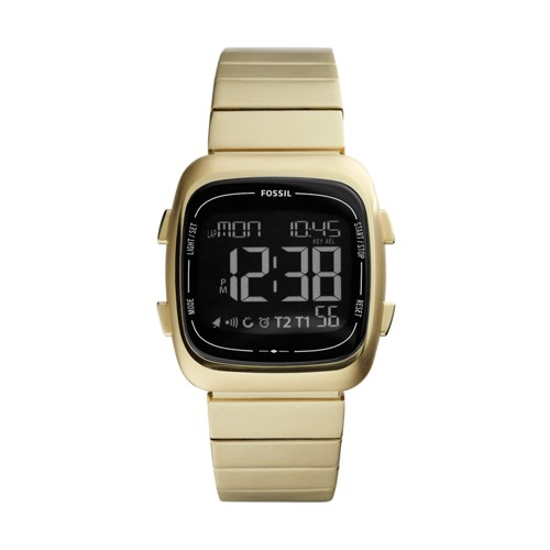 Fossil Rutherford Digital Gold-Tone Stainless Steel Watch FS5449