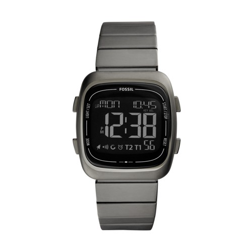 Fossil Rutherford Digital Gray Stainless Steel Watch FS5450