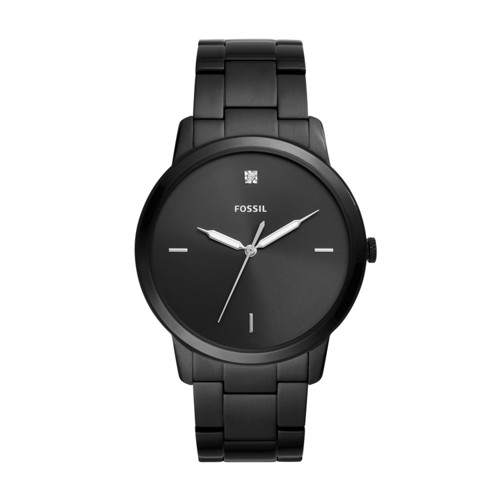 Fossil The Minimalist Carbon Series Three-Hand Black Stainless Steel Watch FS5455