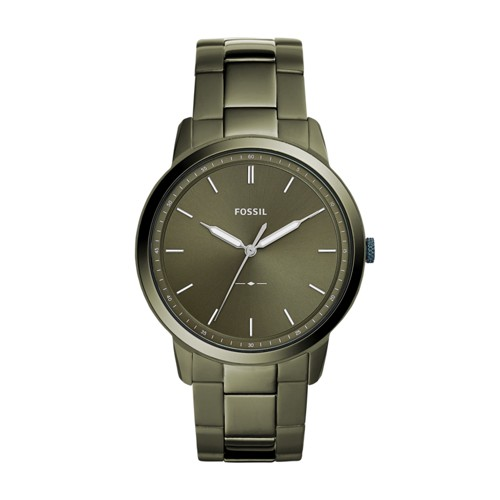 Fossil The Minimalist Three-Hand Olive Gray Stainless Steel Watch FS5460