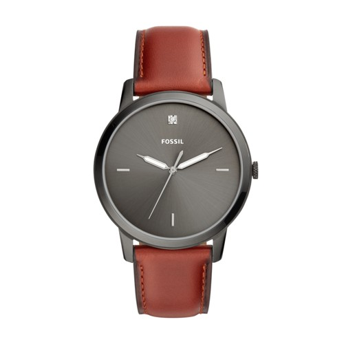 The Minimalist Carbon Series Three-Hand Smokey Amber Leather Watch FS5479