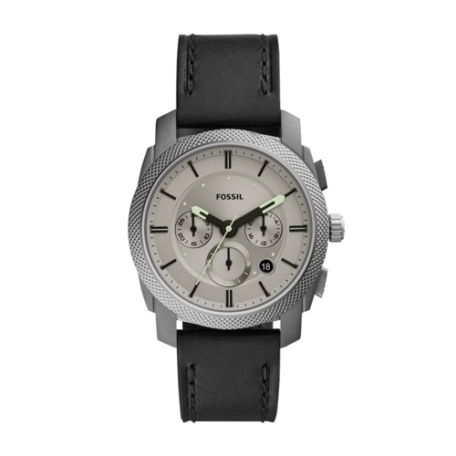 fossil Machine Chronograph Black Leather Watch FS5482