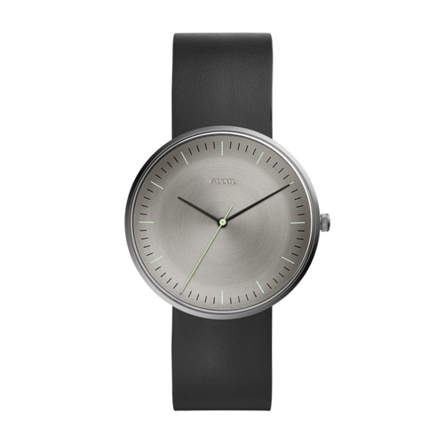 fossil The Essentialist Three-Hand Black Leather Watch FS5483