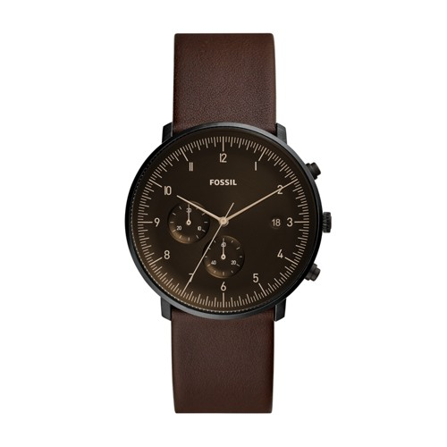 fossil Chase Timer Chronograph Whisky Leather Watch FS5485