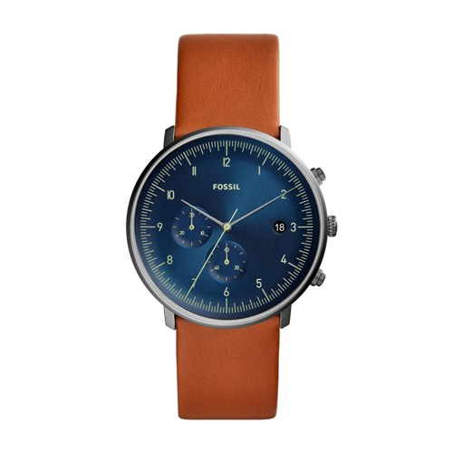 fossil Chase Timer Chronograph Luggage Leather Watch FS5486