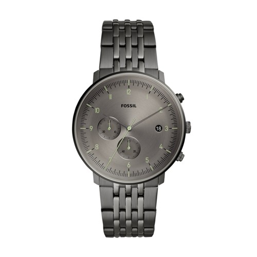 fossil Chase Timer Chronograph Smoke Stainless Steel Watch FS5490