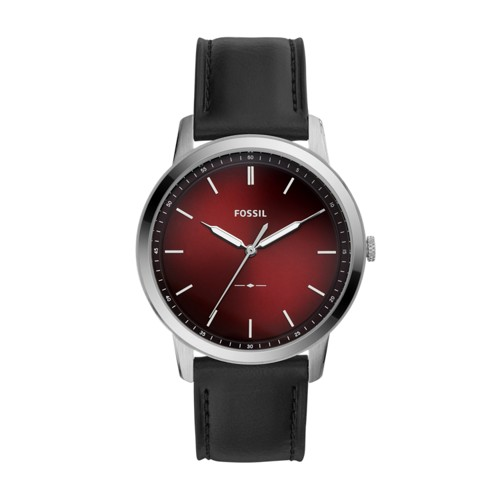 fossil The Minimalist Three-Hand Black Leather Watch FS5493