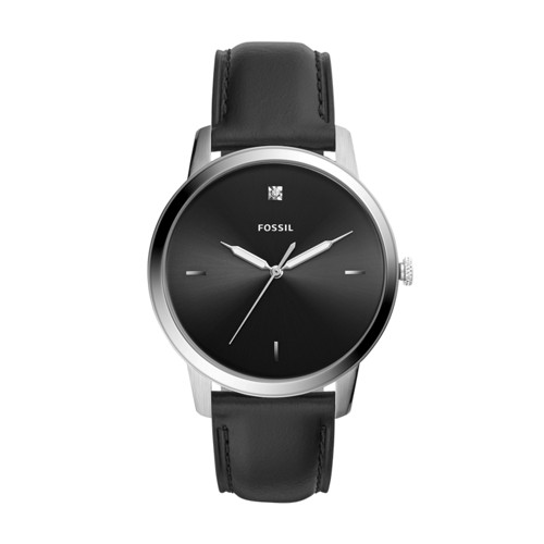 The Minimalist Carbon Series Three-Hand Black Leather Watch FS5497