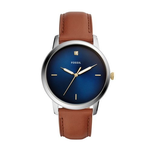 The Minimalist Carbon Series Three-Hand Luggage Leather Watch FS5499