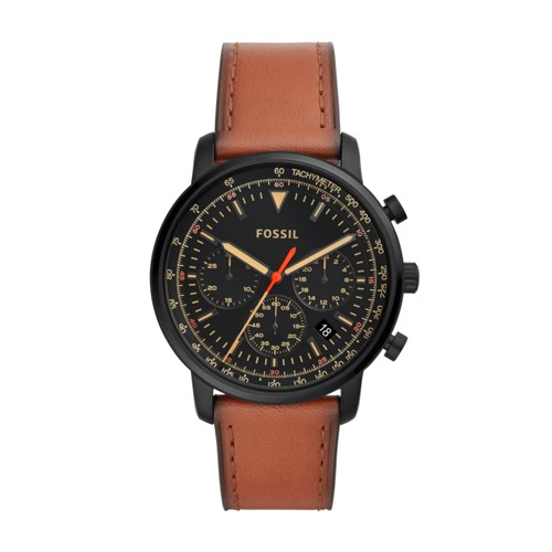fossil Goodwin Chronograph Luggage Leather Watch FS5501