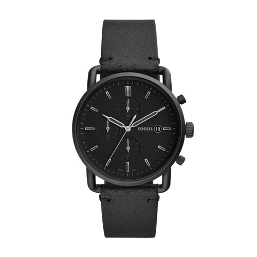 fossil Commuter Chronograph Black Leather Watch FS5504