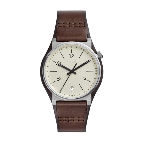fossil Barstow Three-Hand Brown Leather Watch FS5510