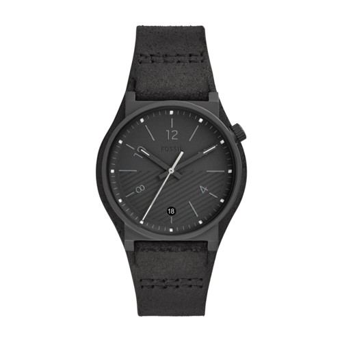 fossil Barstow Three-Hand Black Leather Watch FS5511