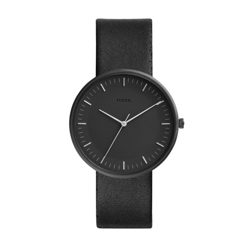 fossil Essentialist Three-Hand Black Leather Watch FS5516