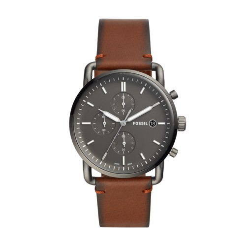 fossil The Commuter Chronograph Amber Leather Watch FS5523