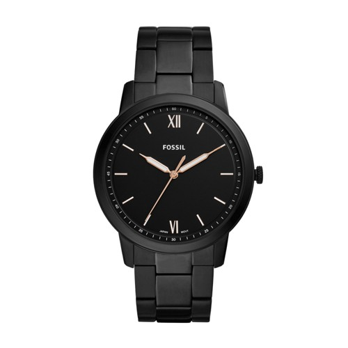 fossil The Minimalist Three-Hand Black Stainless Steel Watch FS5526
