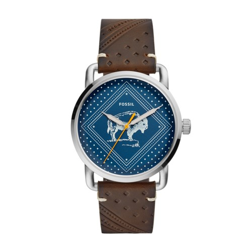 fossil The Commuter Three-Hand Date Brown Leather Watch FS5528