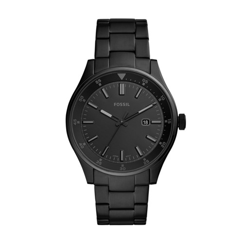 fossil Belmar Three-Hand Date Black Stainless Steel Watch FS5531