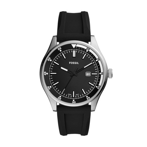 Belmar Three-Hand Date Black Silicone Watch FS5535