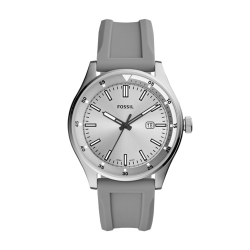 fossil Belmar Three-Hand Date Gray Silicone Watch FS5536