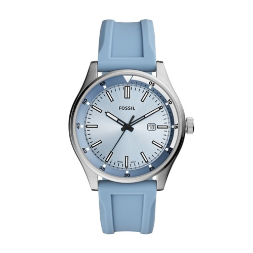 fossil Belmar Three-Hand Date Pale Blue Silicone Watch FS5537