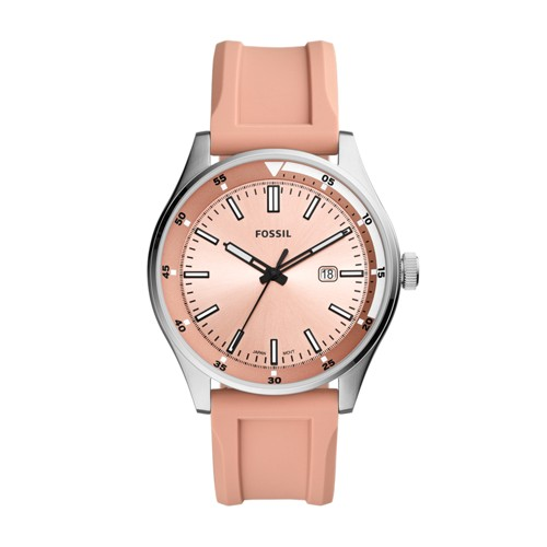 fossil Belmar Three-Hand Date Coral Silicone Watch FS5538