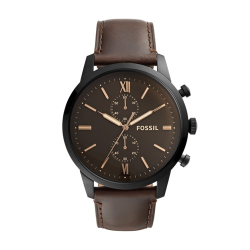 fossil Townsman Chronograph Brown Leather Watch FS5547