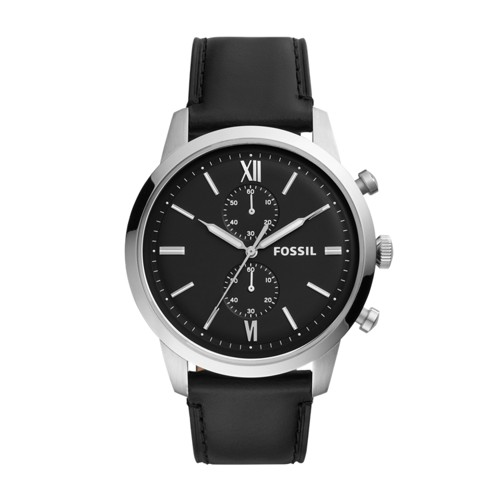 fossil Townsman Chronograph Black Leather Watch FS5548