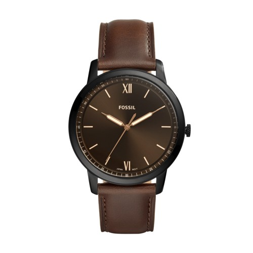 fossil Minimalist Three-Hand Brown Leather Watch FS5551