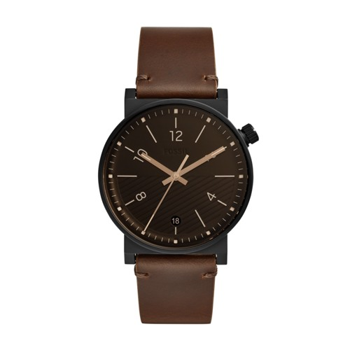 fossil Barstow Three-Hand Date Brown Leather Watch FS5552