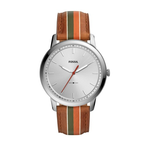 fossil Minimalist Three-Hand Striped Tan Leather Watch FS5553