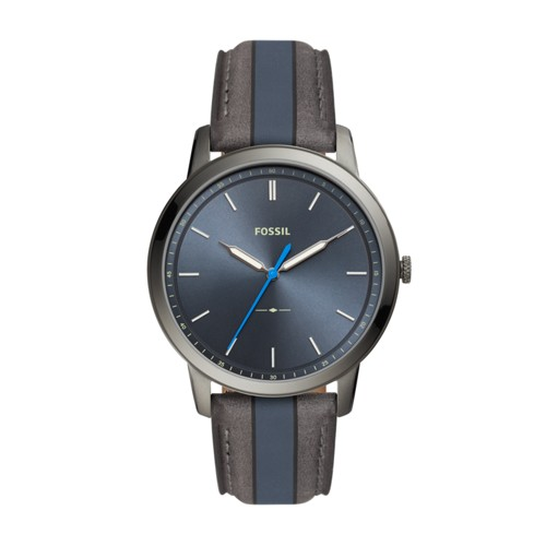 fossil Minimalist Three-Hand Striped Blue and Gray Leather Watch FS5555