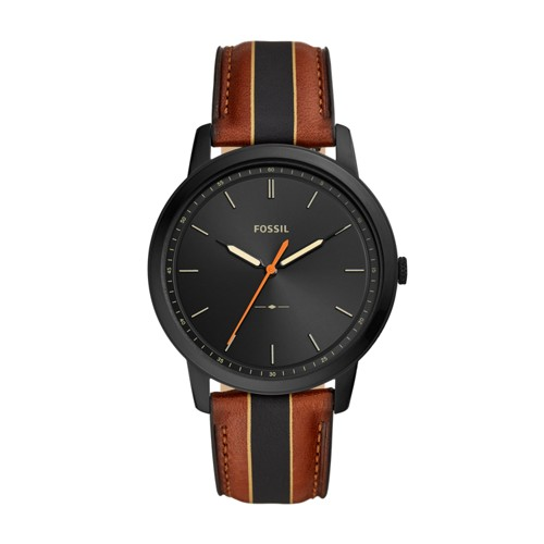 fossil Minimalist Three-Hand Striped Luggage Leather Watch FS5556