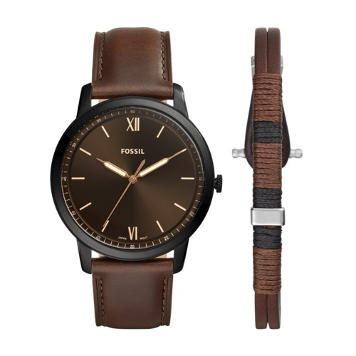 Minimalist Three-Hand Brown Leather Watch and Bracelet Box Set FS5557SET
