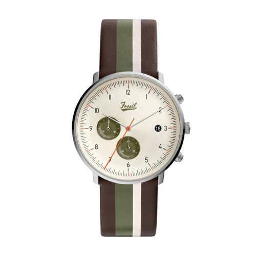 fossil Chase Timer Chronograph Striped Brown Leather Watch FS5560