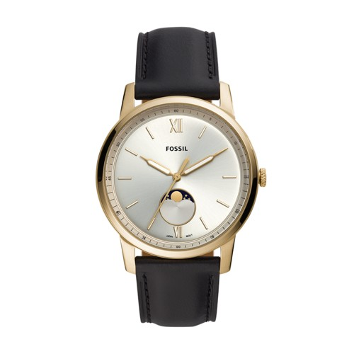 fossil The Minimalist Moonphase Three-Hand Black Leather Watch FS5571