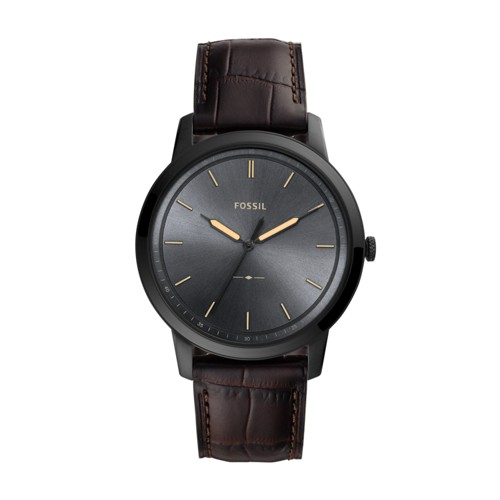 fossil The Minimalist Three-Hand Brown Leather Watch FS5573