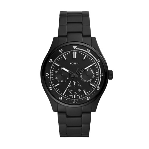 fossil Belmar Multifunction Black Stainless Steel Watch FS5576