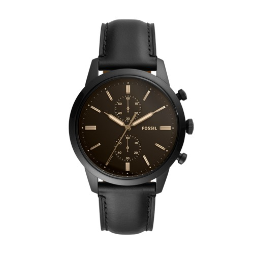 fossil Townsman 44mm Chronograph Black Leather Watch FS5585