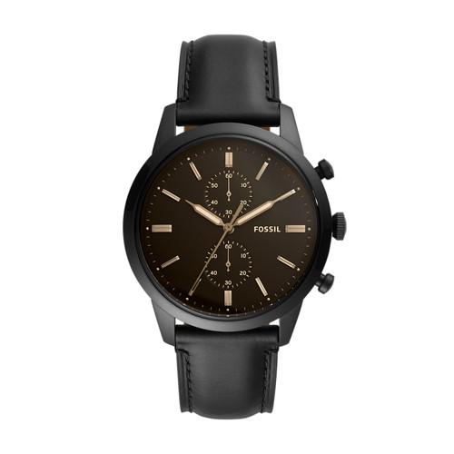 Townsman 44mm Chronograph Black Leather Watch FS5585