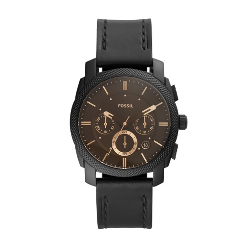 Machine Chronograph Black Leather Watch FS5586