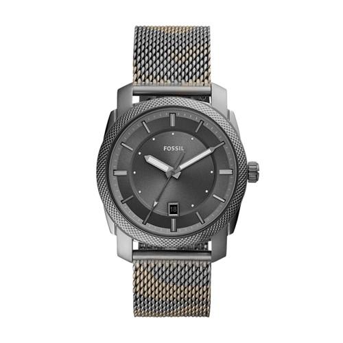 fossil Machine Three-Hand Date Smoke Camo Stainless Steel Watch FS5588