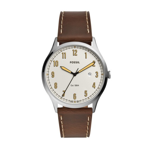 fossil Forrester Three-Hand Date Brown Leather Watch FS5589