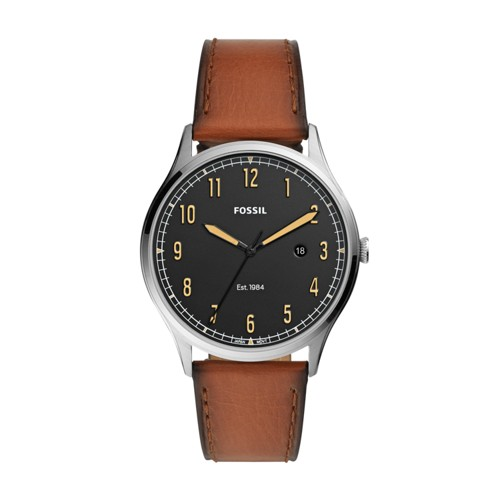 Forrester Three-Hand Date Luggage Leather Watch FS5590
