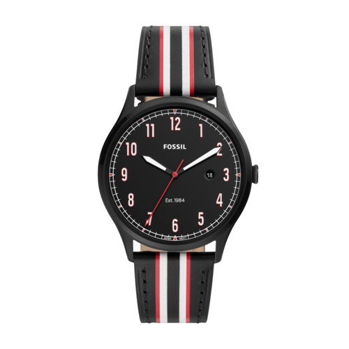 Forrester Three-Hand Date Striped Black Leather Watch FS5591
