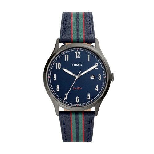 fossil Forrester Three-Hand Date Striped Navy Leather Watch FS5592