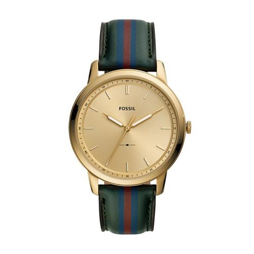The Minimalist Three-Hand Striped Dark Green Leather Watch FS5598