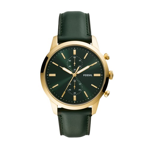 fossil Townsman 44mm Chronograph Dark Green Leather Watch FS5599